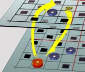 3D checkers on 2 boards