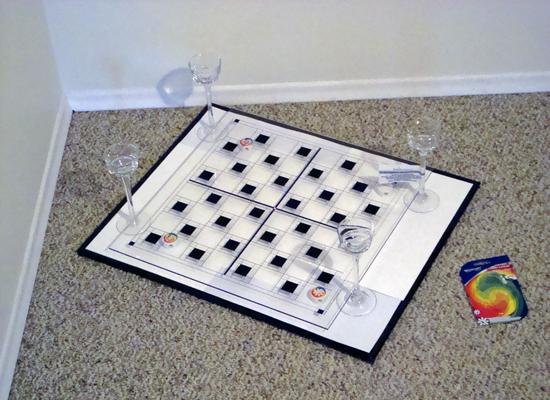 Slide the wine or Tealight holder base under the bottom board.